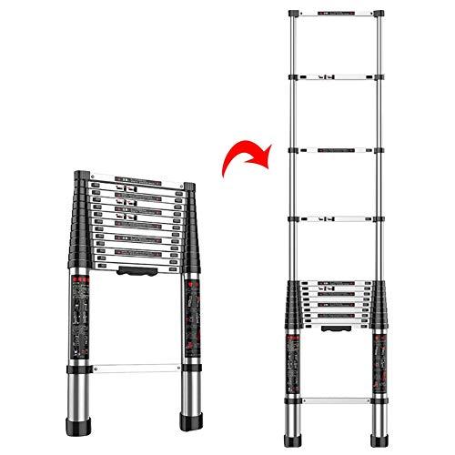 Mehrzweck-Teleskopleiter aus Aluminium, gerade, zusammenklappbar, ausziehbare Leiter für Dachboden, 300 kg Kapazität