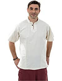 Étnico zen-Camisa de manga corta y cuello mao-Bolsillos creme