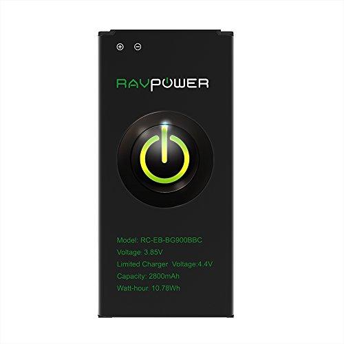 RAVPower Batería para Samsung Galaxy S5 (2800mAh 48 Horas 500 Ciclos de Carga Protección contra Sobrecalentamiento Cortocircuitos Sobrecargas y Descargas Excesivas Certificados CE y RoHS)