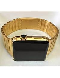 42mm Apple reloj 24K quilates oro chapado de oro w/Acero inoxidable Enlace