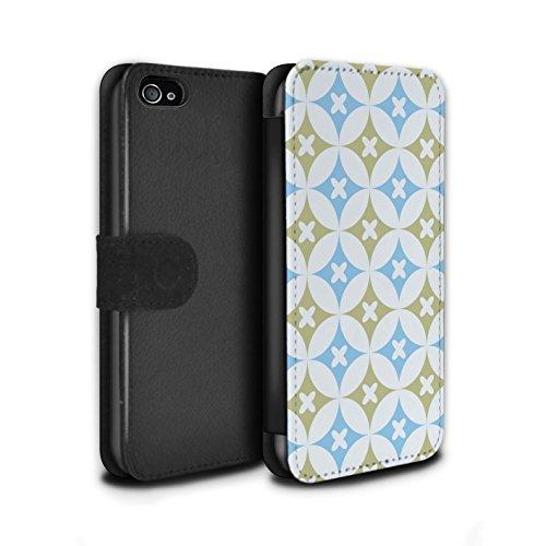 Stuff4 Coque/Etui/Housse Cuir PU Case/Cover pour Apple iPhone 4/4S / Multipack Design / Kaléidoscope Collection Bleu/marron