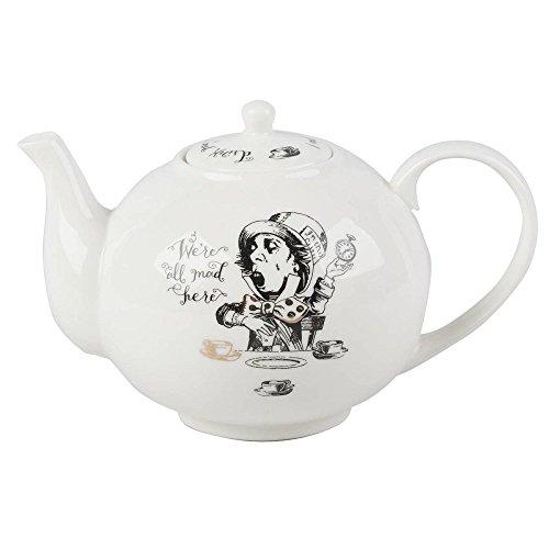 Teekanne ALICE IN WONDERLAND für 1100ml schwarz weiß Porzellan Creative Tops Fine China Teapot