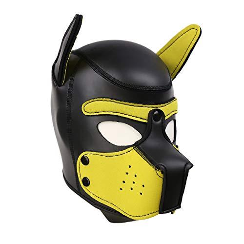 3D Hundekopf Masken Neopren Vollgesichtsmaske Puppy Hood Maske für Rollenspiel Tag Party (Gelb)