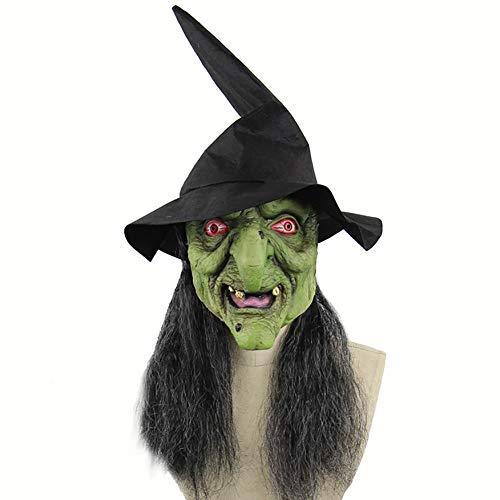 CANE Grüne Hexe Maske Haar Halloween Kostüm Maskerade Party Requisiten Latex Frauen Und Kinder Komfortabel Weich Atmungsaktiv