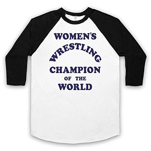 Women's Wrestling Champion Of The World 3/4 Hulse Retro Baseball T-Shirt Weis & Schwarz