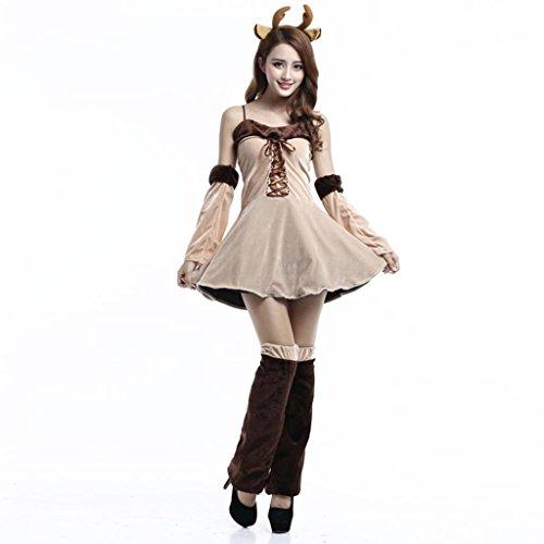 MFFACAI Frauen Miss Santa Fleece KostüM Kleid Cape GüRtel MäDchen-Weihnachtsfest-Parteiuniform DS BüHnenkostüM, f