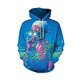 IMJONO Herren Frauen Paar Wear, Liebhaber Punk 3D Print Party Langarm Pullover Bluse Hoodie Sweatshirt(EU-40/CN-L,Blau)