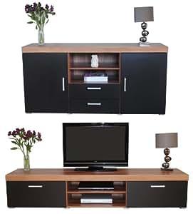 sydney fernsehschrank 2 m und gro e anrichte schwarz walnussholz optik f r wohnzimmer. Black Bedroom Furniture Sets. Home Design Ideas