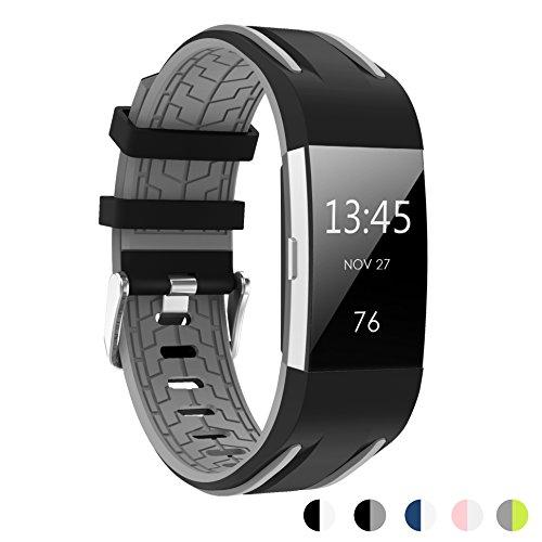 Armband Ersatz Smartwatch Uhrenarmband für Fitbit Charge 2 Schwarz Größe S