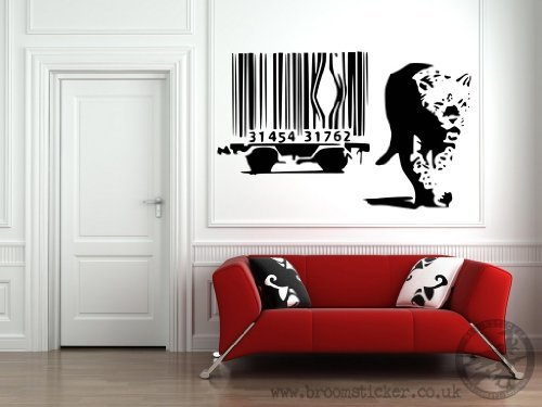 Vinyl-Wandtattoo, Motiv Banksys Leopard Barcode, 30 x 50 cm