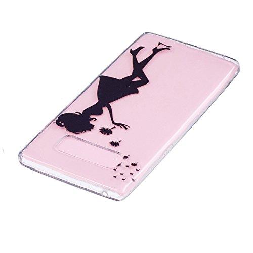 Hülle für Samsung Galaxy Note 8, Case Cover für Samsung Galaxy Note 8 [Scratch-Resistant] , ISAKEN Ultra Slim Perfect Fit Malerei Muster Weiche TPU Silikon Durchsichtig Transparent Protective Rückseit Mädchen Löwenzahn