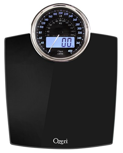 Ozeri Rev Digital Bathroom Scale with Electro-Mechanical Weight Dial (Black)