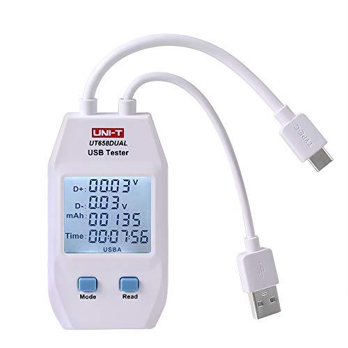 UNI-T UT658 Medidor de corriente digital USB y monitor de voltaje,medidor de voltaje de potencia,velocidad de prueba de cargadores,cables,capacidad de bancos de energ/ía