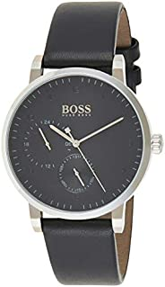 Hugo Boss Mens Quartz Watch, Analog Display and Leather Strap 1513594