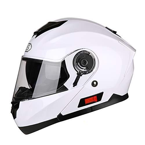 YGFS Casco Esposto Moto, Maschio E Femminile personalità Racing Moto Jet Doppio Specchio Casco Modulare (Bianco)