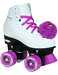 Epic patines color morado princesa niñas Quad patines, blanco