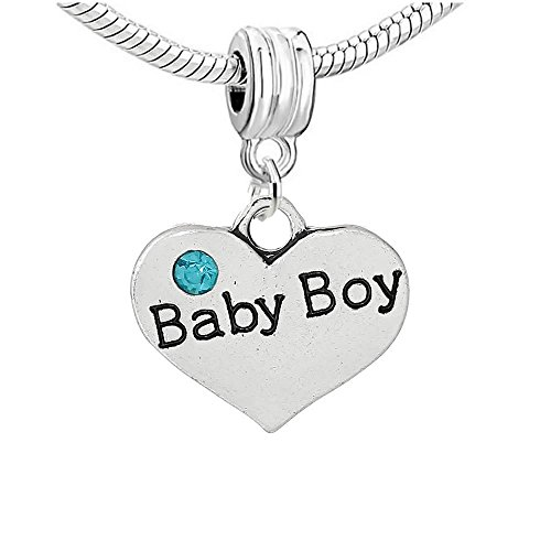 Sexy Sparkles Lot de 2perles de bracelet pour femme en forme de cœurs assortis avec strass baby boy