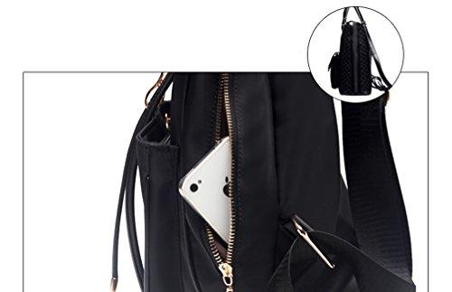 Schwarz Damen Rucksack Nylon Yan Handtasche Schwarz Multifunktions Tasche Schultertaschen Show ZRPx1qz