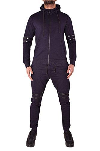 Da uomo Designer tuta in pile Skinny sottile pantaloni Jogging pantaloni e giacca con cappuccio e zip con cappuccio Top in cotone e Pique 4stili 7colori PU NAVY