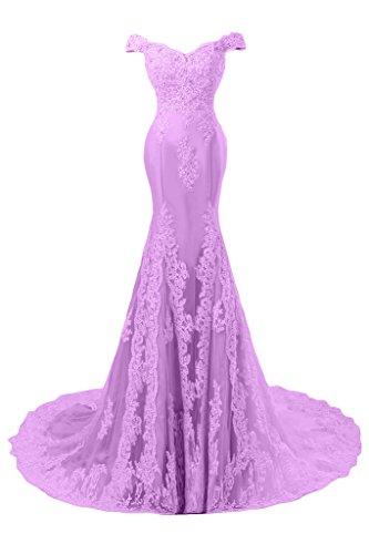 Sunvary Romantisch Mermaid Neu Spitze Traeger Abendkleid Ballkleider Lila-1