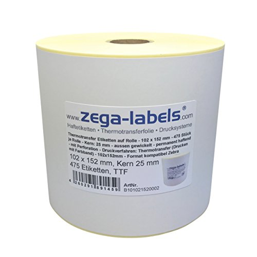Thermotransfer Etiketten auf Rolle - 102 x 152 mm - 475 Stück je Rolle - Kern: 25 mm - aussen gewickelt - permanent haftend - mit Perforation - Druckverfahren: Thermotransfer (Drucken mit Farbband)