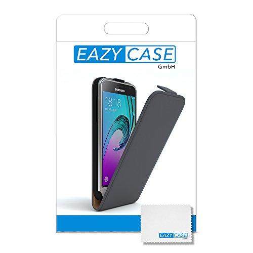 Samsung Galaxy J3 Hülle - EAZY CASE Premium Flip Case Handyhülle - Schutzhülle aus Leder zum Aufklappen in Rosa Anthrazit