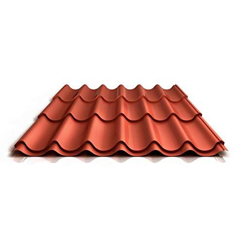 Pfannenblech | Ziegelblech | Dachziegelblech | Profil PS47/1060RT | Material Stahl | Stärke 0,50 mm | Beschichtung 60 µm | Farbe Kupferbraun