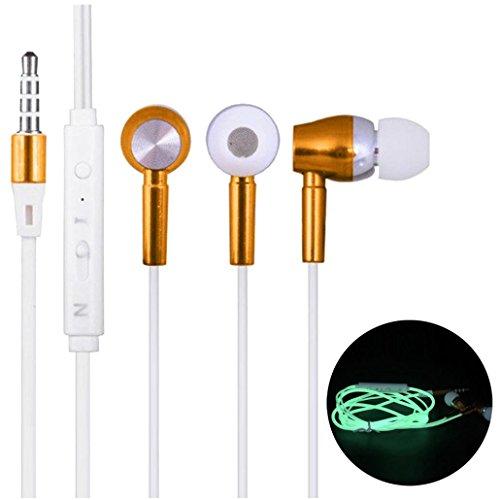K-youth® in-Ear Auriculares estéreo de Metal Auriculares súper Bajos con micrófono Auricular estéreo Luminosos (Oro)