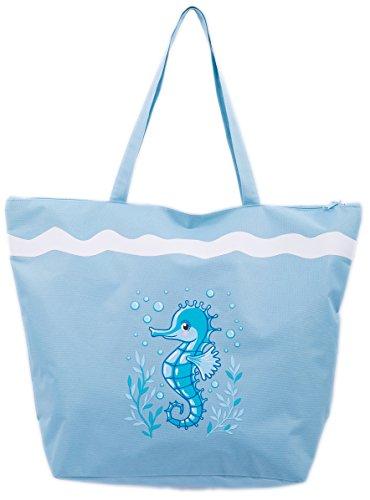 Borsa da Mare Borse Spiaggia Donna Grande Cavalluccio Marino Airee Fairee Cavalluccio marino blu