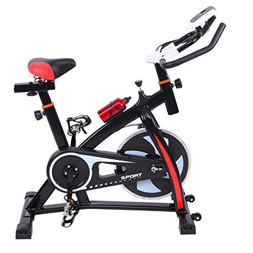 Ridgeyard Heimtrainer Fitnessbike Fahrrad Indoorcycling Home Fahrradtrainer Cardio Workout, direktes Riemenantrieb, Einstellbare Lenker und Sitz mit LCD-Display Scan, Zeit, Geschwindigkeit, Entfernung, Kalorien, Kilometerzähler(schwarz)