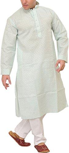 Exotic India Men's Khadi Kurta Pyjama with Woven Checks and Thread Embroidery...