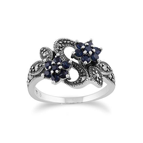 Gemondo Jugendstil Ring, 925 Sterlingsilber 0.56ct Karat Saphir & Markasit Blume Ring