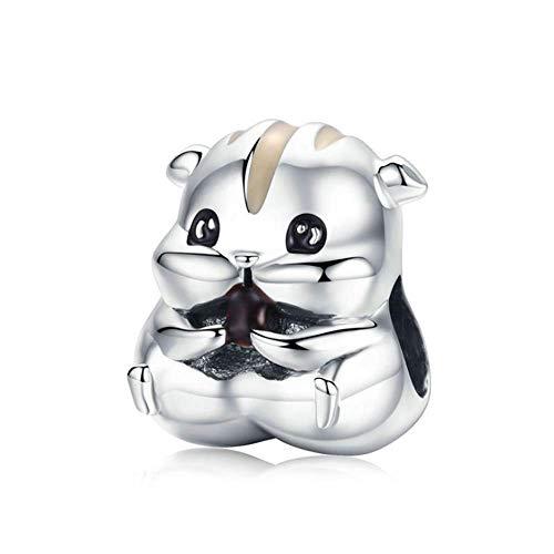 ANLW S925 Sterling Silber Charms für niedliche Tier kleinen Hamster Frauen \' S Bead Charms Fit Pandora Charm Armband Armband Mutter \' S Day Geschenk