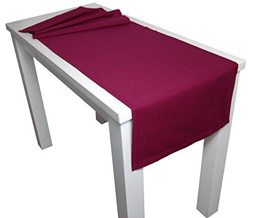 beties Farbenspiel Tischläufer ca. 40x150 cm in interessanter Größen- und Farbauswahl 100% Baumwolle für eine fröhlich Stimmung Uni Farbe (hibiskus beere)