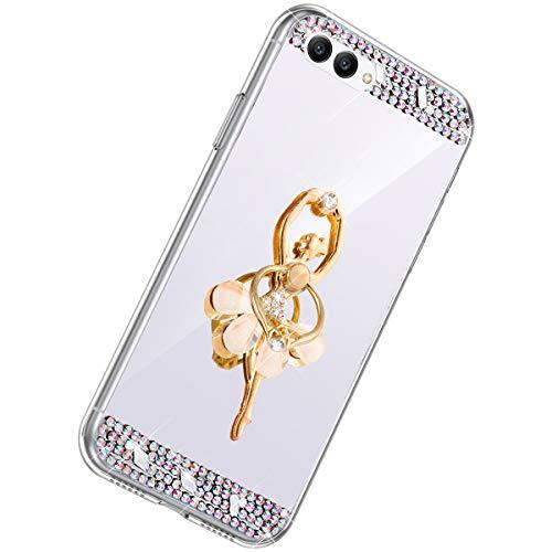 Herbests Kompatibel mit Huawei Honor View 10 Handyhülle Glitzer Diamant Glänzend Spiegel Handytasche Durchsichtig Kristall Bling Schutzhülle Case mit 360 Grad Ring Ständer Halter,Silber