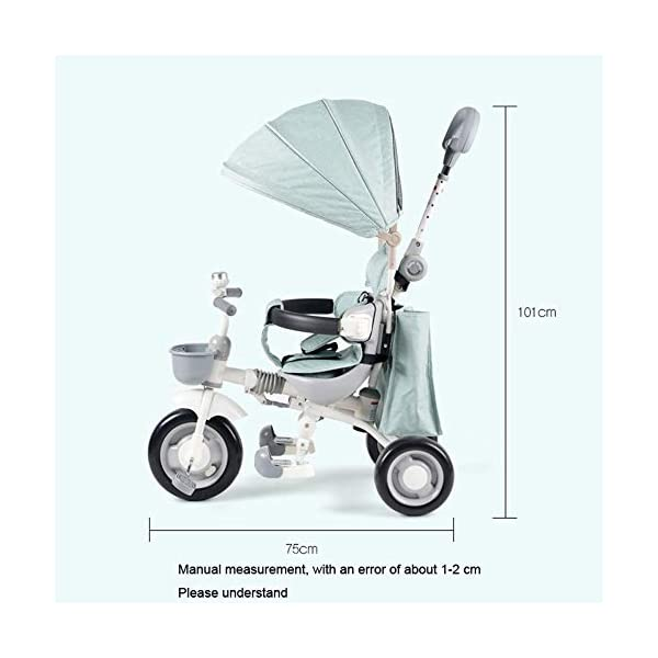 4 In 1 Childrens Tricycles Easy Installation 1 To 5 Years Folding Trike Adjustable Push Handle Folding Sun Canopy 3 Wheel Toddlers Children Ride On Pedal Trike Bike Maximum Weight 40 Kg,Blue-OneSize BGHKFF *Material: Carbon steel + ABS, suitable for children from 1 to 5 years old, the maximum weight is 40 kg, the whole frame is painted with paint to effectively prevent the frame from bumping and rusting. *High-performance space wheel, SUV-type shock absorber protection, built-in shock absorber spring, effectively alleviating the vibration caused by uneven road surface * Cotton and linen fabric, combined with comfortable pillow, breathable, non-slip, comfortable 2