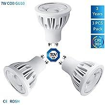 3unidades de bombillas regulables Szmaya GU10LED, de aluminio, equivalentes a bombillas halógenas de 75 W, 7 W, 630 LM, blanco cálido 3000K, ángulo del haz de luz 40 grados, iluminación empotrable, pista de iluminación [clase energética A++]