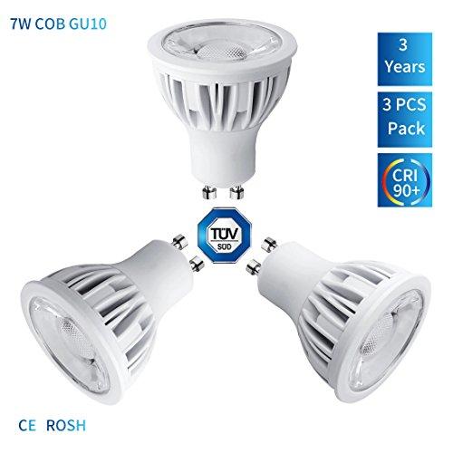 3er Pack szmaya GU10LED Licht 3000K Warm Weiß Leuchtmittel dimmbar, Küche Spüle Beleuchtung, Aluminium Material, entspricht 75W Halogenlampen, 7W, 630lm, warm weiß 3000K, 24Grad Abstrahlwinkel, Einbauleuchte, Track Beleuchtung [Energieeffizienzklasse A + +