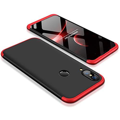 9-evei Huawei P Smart 2019 Hülle, HandyHülle 3 in 1 Ultra Dünner PC Harte Case 360 Grad Ganzkörper Schützend Schutzhülle Tasche für Huawei P Smart 2019 (Rot+Schwarz) (Pc-smart)