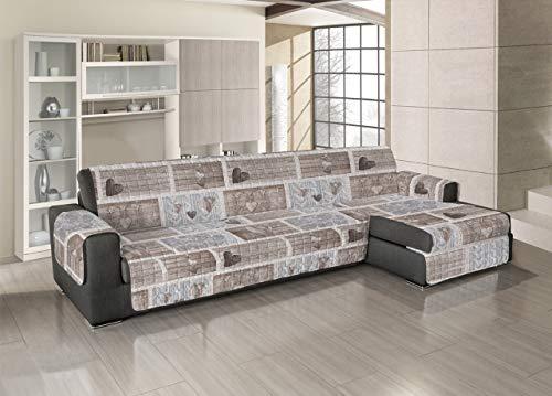 Biancheriaweb copridivano trapuntato per divani con penisola disegno shabby love 190-195 cm beige