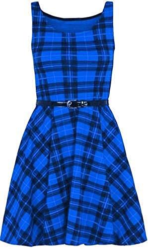 Belted Check Dress (Top Fashion18 Damen Übergröße Sleeveless Belted Printed Tartan Leopard Check Skater Ausgestelltes Kleid Top Größe 36-48)
