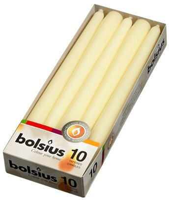 10 Bolsius Ivory Non Drip Dinner Tapered Candles, 25 cm, 7.5 hours and FREE Inspirational Fridge