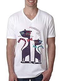 b14e93bc28885 Ytwww123 Lunettes de Soleil Vintage Drapeau américain Meowica Cat pour  Hommes col en V T-Shirts Drapeau Lunettes de Soleil T-Shirts Lunettes de…