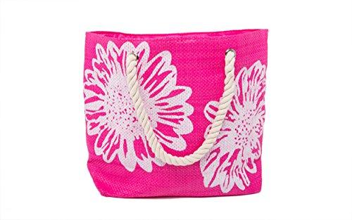 Borsa da Spiaggia Donna + Infradito 2 Pezzo Floral Grande Borsa Airee Fairee Rosa