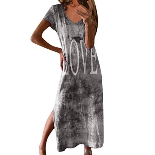 Wildleder Spitze Korsett (BHYDRY Love Bedrucktes Split-Kleid für Damen, gefärbt (Small,Grau))