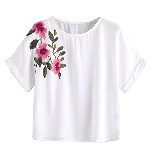 Lace Front-reißverschluss (Bekleidung Hemd damen Kolylong® Frau Blume Stickerei lose T-Shirt Sommer Casual kurze Ärmel Bluse Tops tank Weste (S, Weiß))