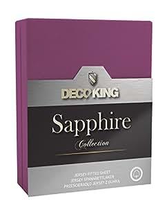 DecoKing 20029 Spannbettlaken 120 x 200 - 140 x 200 cm Jersey 100% Baumwolle Boxspringbett Spannbetttuch Sapphire Collection, lila