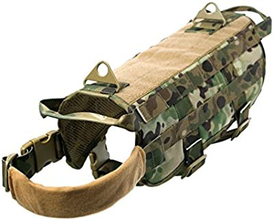 yisibo perro arnés Militar Táctico Chaleco de entrenamiento perro de policía chaleco MOLLE compacta arnés nailon ajustable chaleco paquetes abrigo mascota ropa