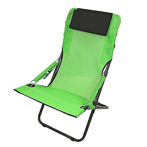 Fridani RCG 100 XXL Campingstuhl mit Armlehnen Gartenstuhl mit Kopfpolster Klappstuhl mit 4-fach verstellbarer Rückenlehne Sonnenliege mit luftdurchlässigem Sitz-Bezug, extrem bequem