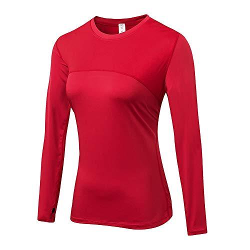 Laufende Yoga-shirt (Minions Boutique Frauen Kompressions Sport Jersey Shirt Lange Hue lsen T Shirts Turnhalle Yoga Spitzen Fitness laufende Hemden Sport T Stue cke roter S)